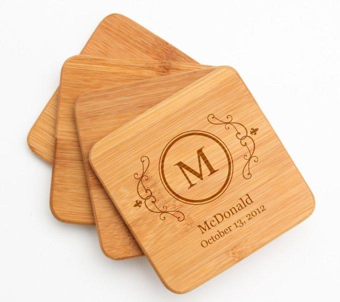 Engraved Bamboo Coaster Set
