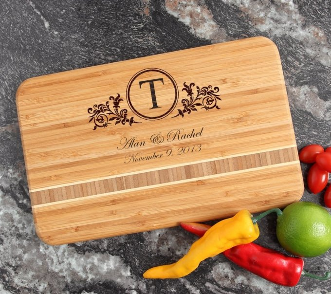 Personalized Bamboo Cutting Board Engraved 12 x 8 DESIGN 15 CBE-015