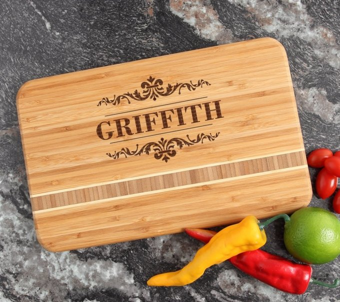 Personalized Bamboo Cutting Board Engraved 12 x 8 DESIGN 16 CBE-016