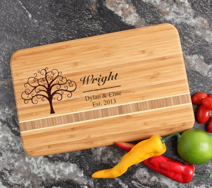 Personalized Bamboo Cutting Board Engraved 12 x 8 DESIGN 18 CBE-018