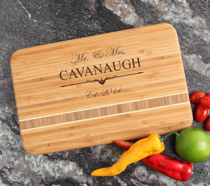 Personalized Bamboo Cutting Board Engraved 12 x 8 DESIGN 19 CBE-019