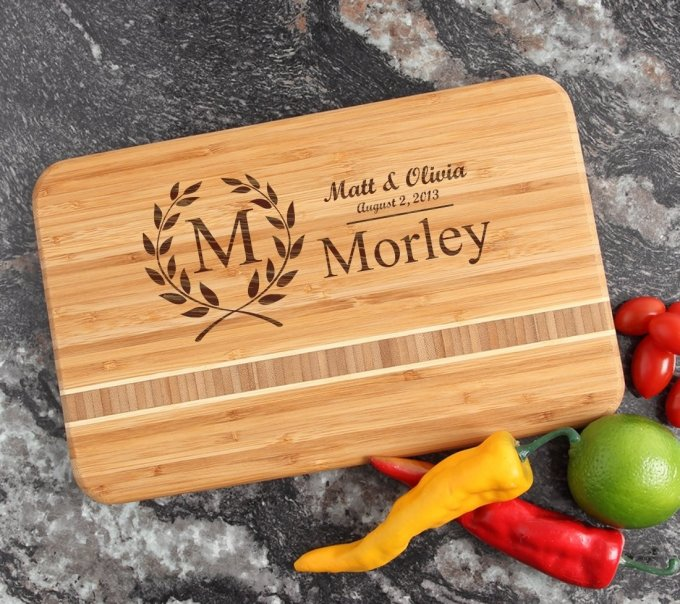 Personalized Bamboo Cutting Board Engraved 12 x 8 DESIGN 6 CBE-006