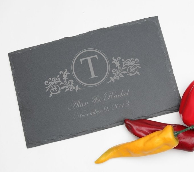 Personalized Slate Cheese Board 11 x 7 DESIGN 15 SCBS-015