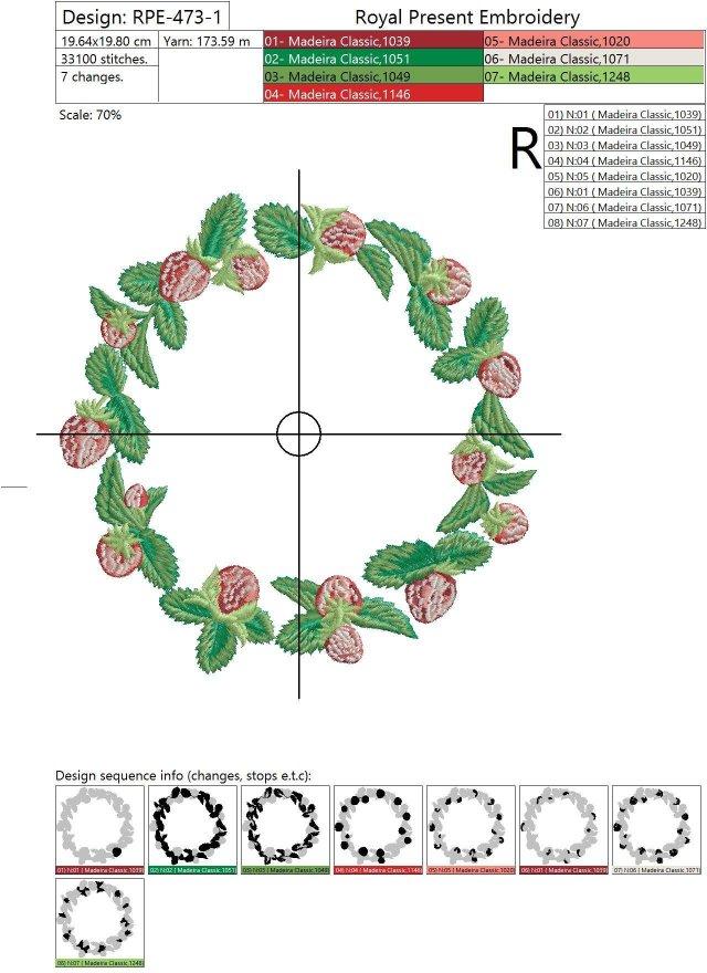Дизайн машинной вышивки Венок из клубники