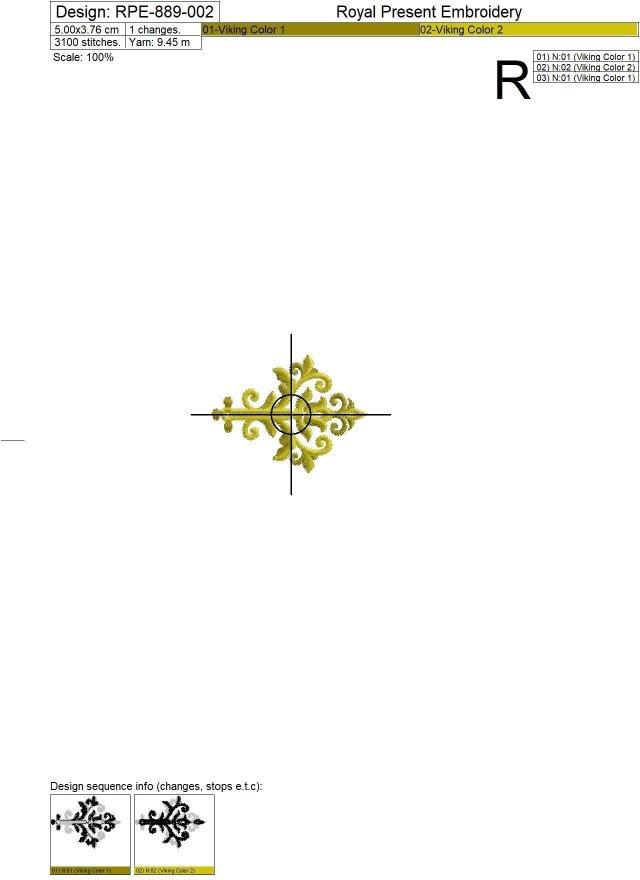 Дизайны машинной вышивки Прорези для пуговиц барокко