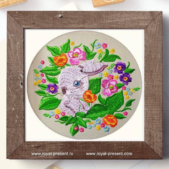 Дизайн машинной вышивки Кролик в цветах - 4 размера RPE-1276