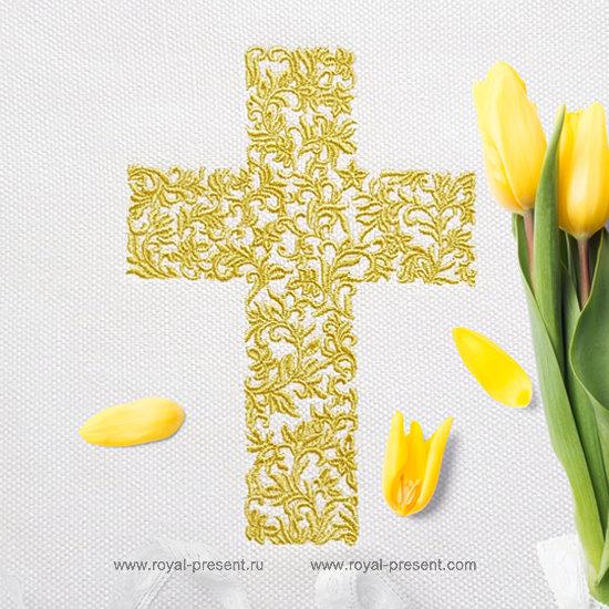 Дизайн машинной вышивки Пасхальный растительный Крест - 3 размера RPE-1278