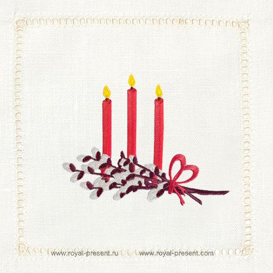 Дизайн машинной вышивки Пасхальные свечи RPE-1282
