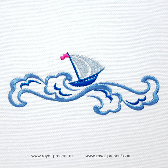 Бордюр для машинной вышивки Кораблик на волнах - 3 размера