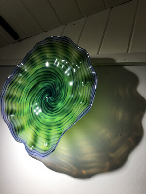 Green Blue Purple Spiral Blown Glass Wall Platter