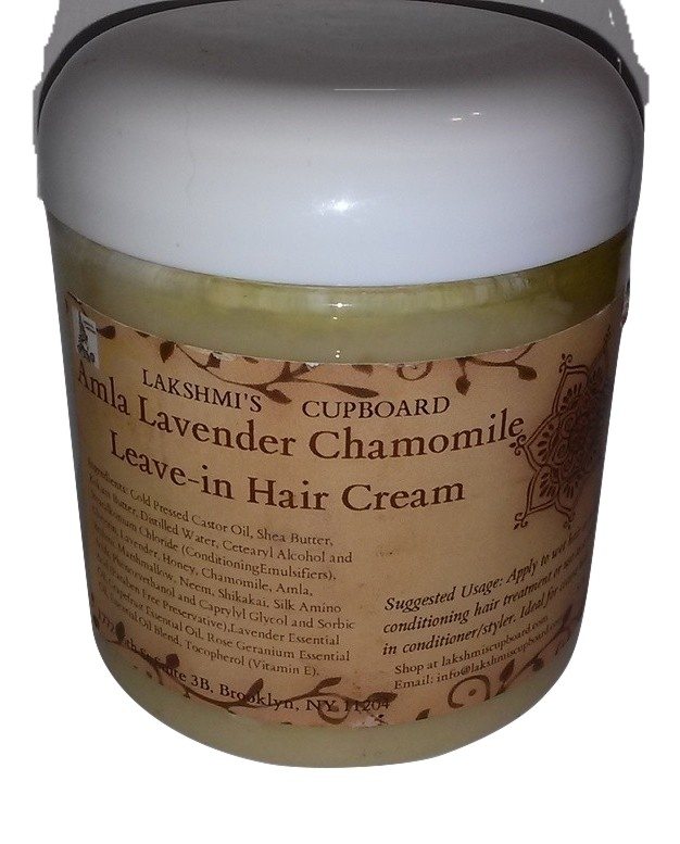 Amla Lavender Chamomile Leave-in Hair Cream 4 oz and 8 oz w/Shea Butter, Shikakai, Brahmi, Neem and Honey (Deep Conditioner) 00011