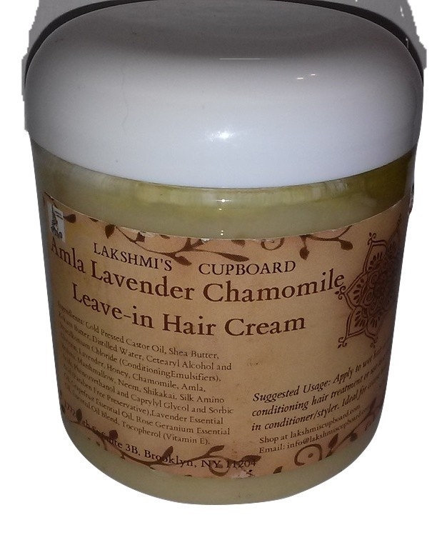 Amla Lavender Chamomile Leave-in Hair Cream Sample Size w/ Shea Butter, Shikakai, Neem, Brahmi and Honey (Deep Conditioner) 00039