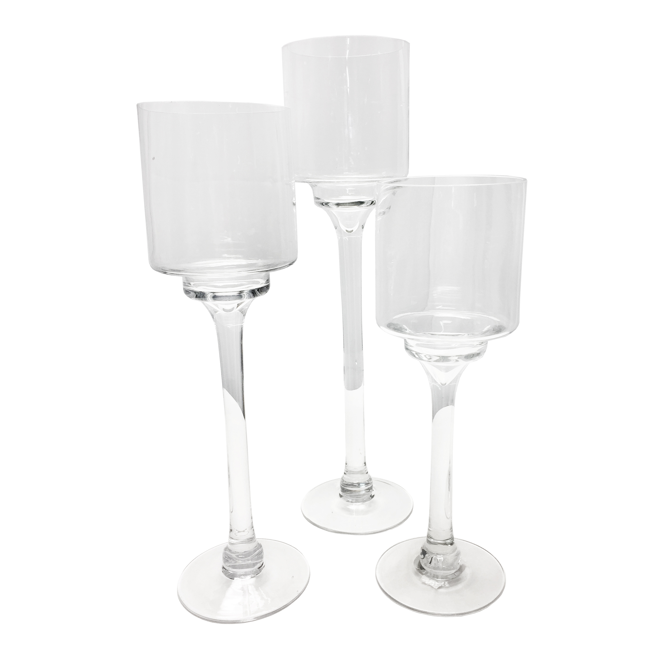 Glass Long-stem Candle Holders Rental Glass Long-stem Candle Holders Rental