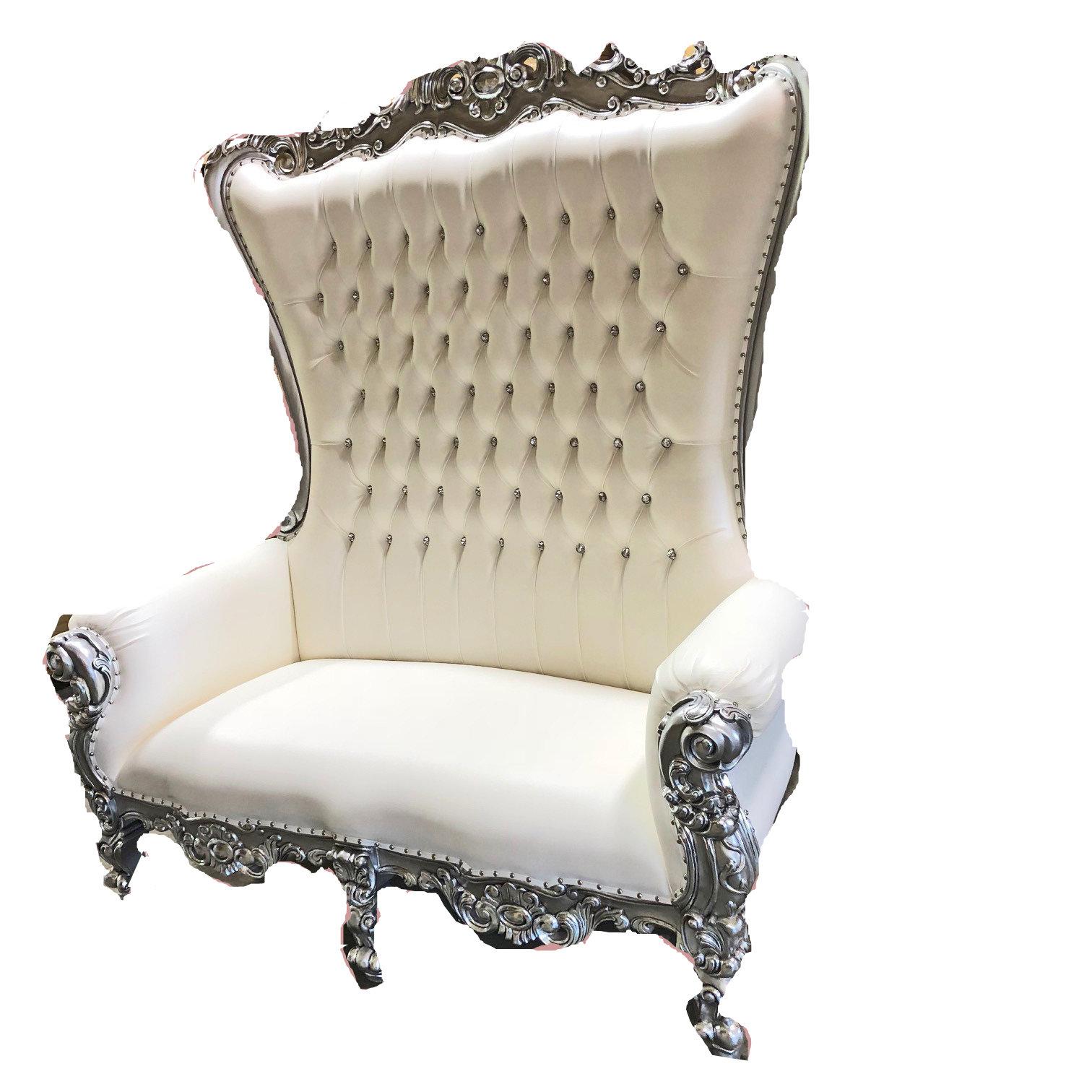 High Back Queen Throne Chair - White & Silver High Back Queen Throne Chair - White & Silver