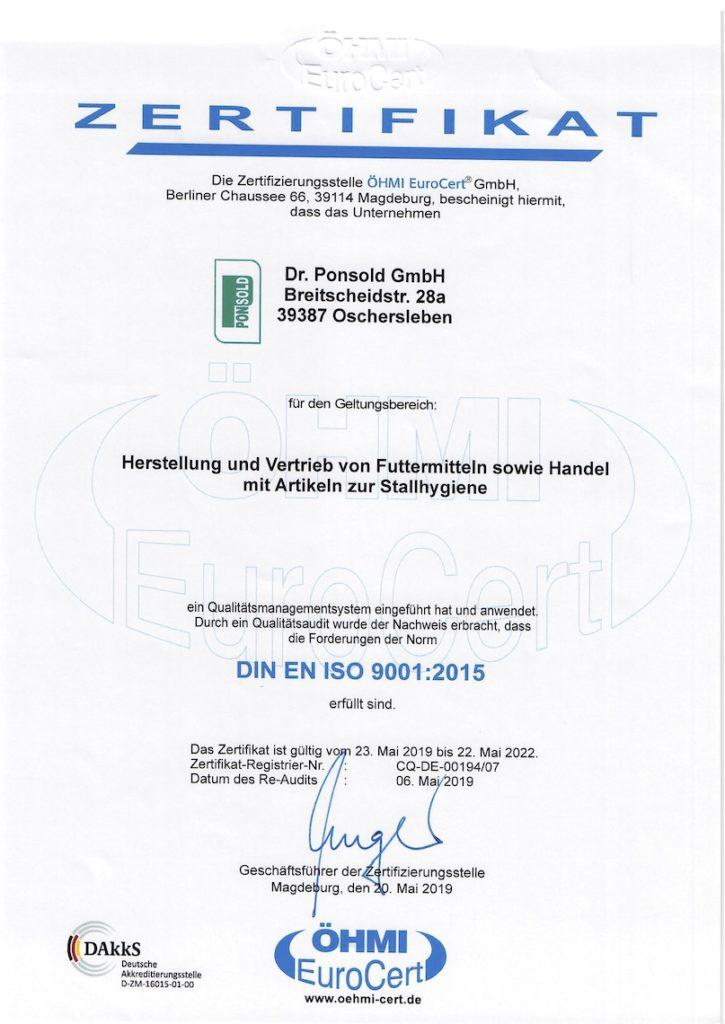 Zertifikat DIN EN ISO 9001:2015 ÖHMI EuroCert GmbH
