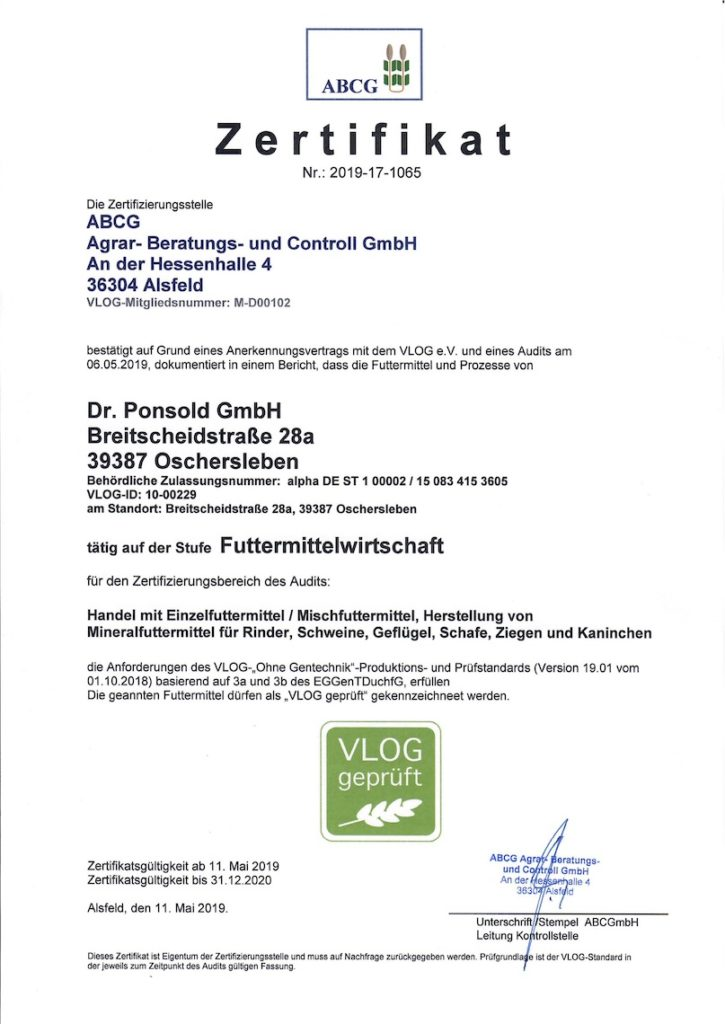Zertifikat 2019-17-1065 ABCG Agra- Beratung- und Controll GmbH