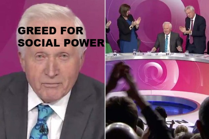 , The Corpse of David Dimbleby was Removed at 80 Years Old from the BBC's Question Time Show! After Many Years that Dr ACactivism had Criticised the BBC for Working with GREEDY OLD Dictators or Journalists who Do Not Want to Give Up Social Power Until they Die.   Hey: What is Wrong with Those Old Journalists of the U.K Imperialist Media or Dictators who do not want to give up Big Social Power like Big MEDIA POWER?