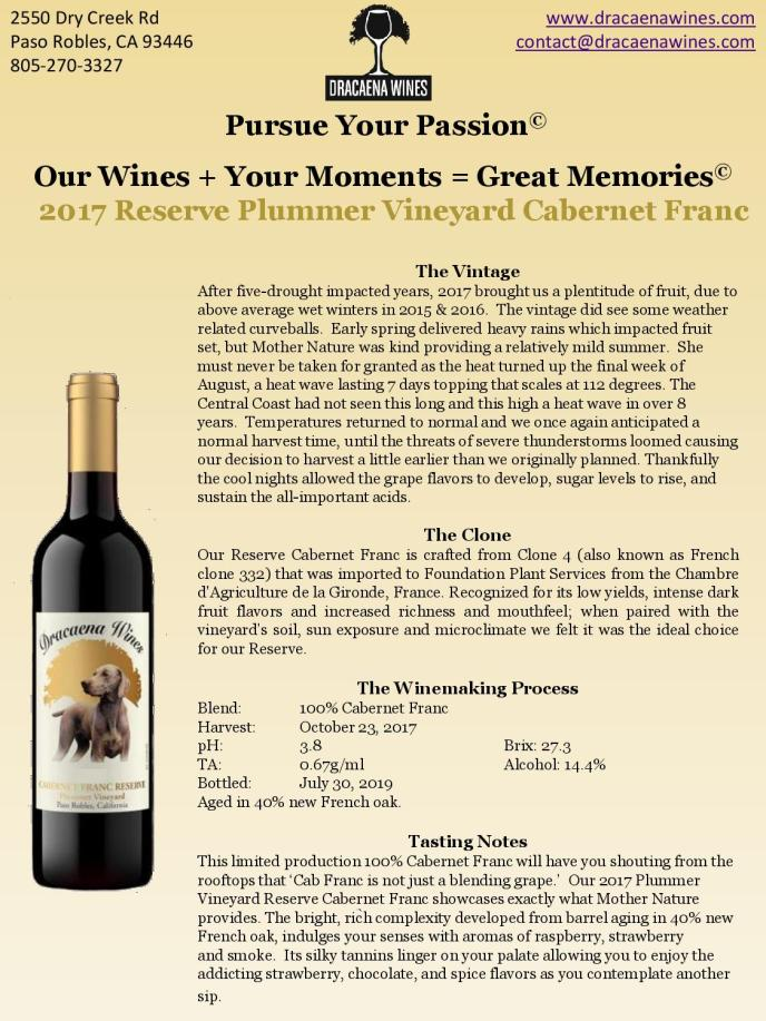 2017 Reserve Plummer Vineyard