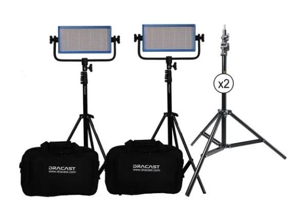 Dracast LED500 Pro Daylight LED 2-Light Kit with V-Mount Battery Plates and Stands