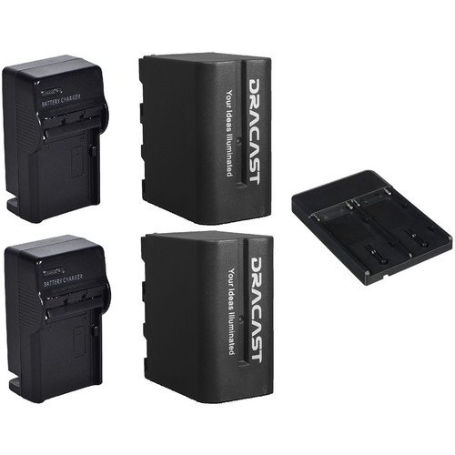 Dracast 2 x NP-F 6600mAh Batteries with Chargers and V-Mount to NPF Converter Kit