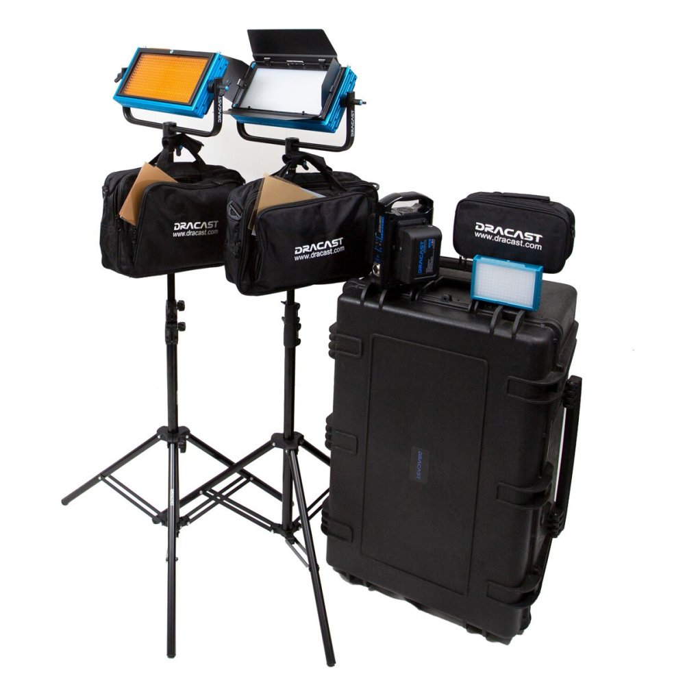 Dracast Pro Series Daylight 3-Light Interview Kit with Gold Mount Battery Plates