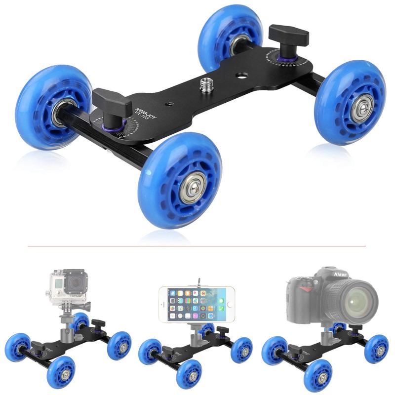 Tabletop Mobile Rolling Slider Dolly Car,KINGJOY VX-103 Skater Video Track Rail for Speedlite DSLR Camera Camcorder Rig