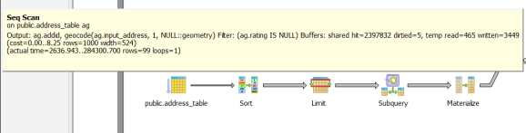 1. example code returned 99 rows in seq scan