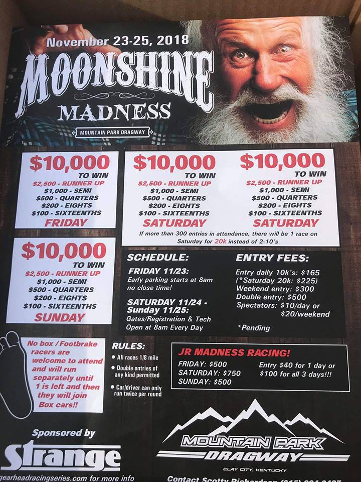 Moonshine-Madness Nov 23-25 event flyer
