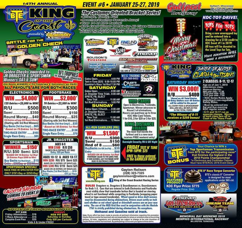 Gulfport Dragway BTE King of the Coast Jan 25-27