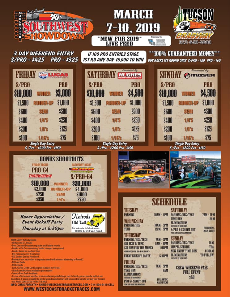 Southwest Showdown Tucson Dragway flyer 1