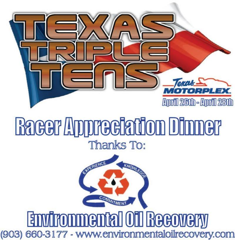 Environmental Oil Recovery Racer Appreciation dinner at Texas Triple Tens