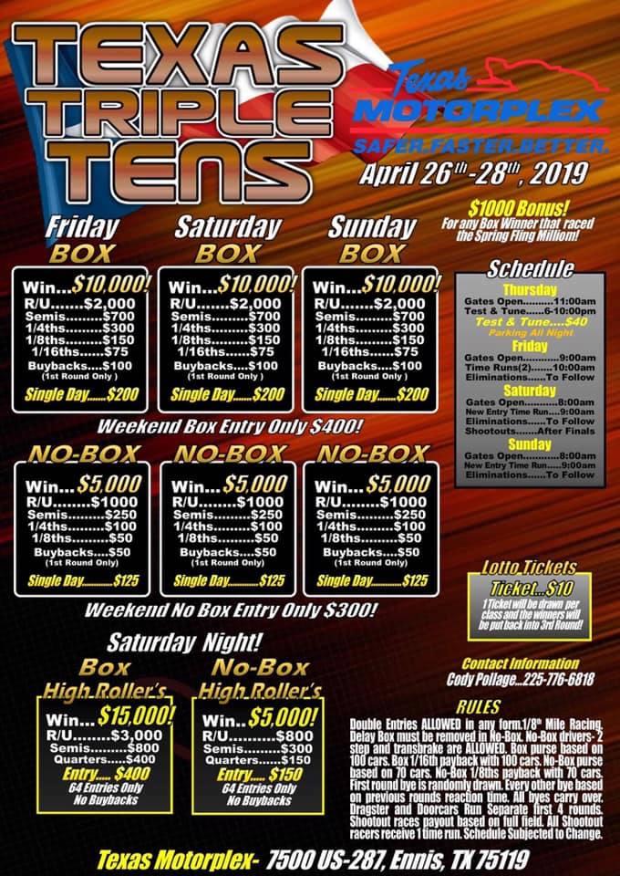 Texas Triple Tens April 2019 Event Flyer