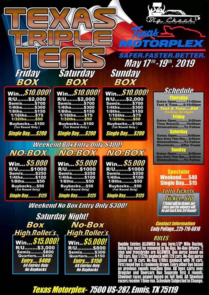 Texas Triple Tens May 2019 Flyer