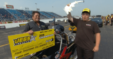 Chris Dodd 2019 Jegs Allstars Super Comp Champ winners circle