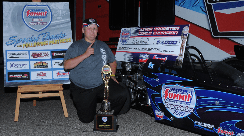2019 IHRA Jr Dragster World Champ Kaden Harrill