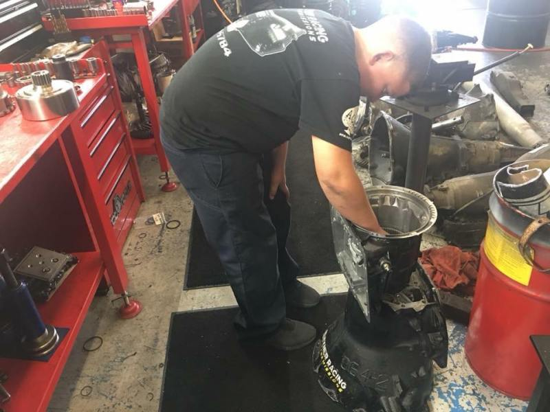 Landon Exner working at Exner Transmissions