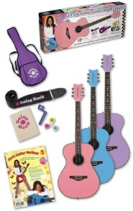 Daisy Rock Pixie Acoustic Guitar Starter Pack, Powder Pink