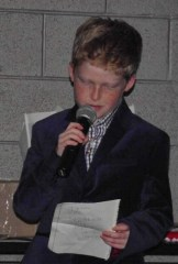 Clay Coughlin, 9, gave a speech at the National Trail Raceways Awards Banquet after being honored as the Jr. Dragster 1 champion.