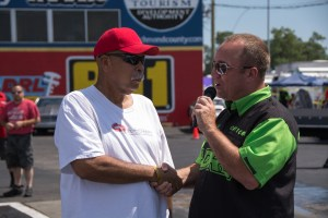 Stuart Williams being honored by Kenny Nowling at the ADRL Dragstock X.