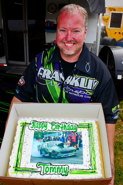 PDRA co-owner Tommy Franklin will celebrate his 41st birthday on Sunday, June 29, but received a custom-made cake in his pit on Saturday at U.S. 131 Motorsports Park.