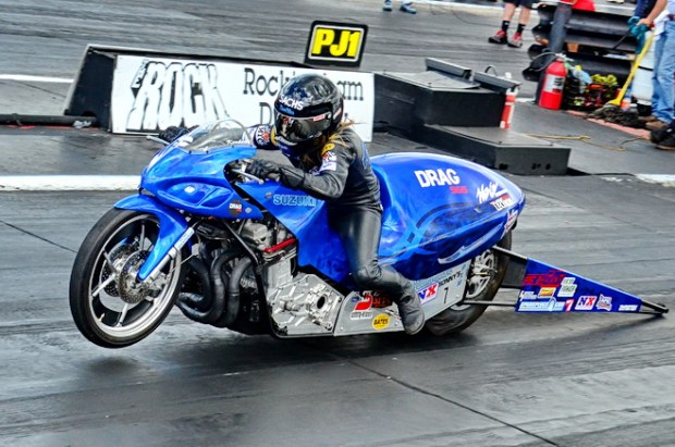 Past Pro Extreme Motorcycle champion Kim Morrell was back in action at Dragstock courtesy of new Drag 965 sponsorship on her John Sachs-tuned 2010 Suzuki. Morrell qualified 12th with a 4.170 pass at 166.05 mph, then lost in round one of eliminations to Ron Procopio.