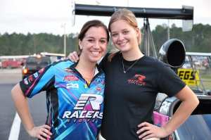 Megan (right) with friend, crew member and aspiring A/Fuel driver-in-training Marina Anderson.