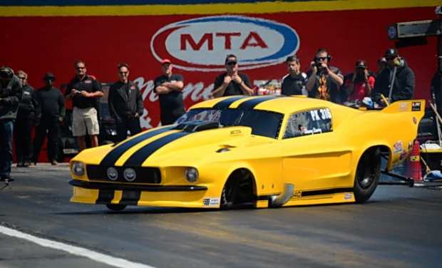 Only a great driving job by Danny Lowry saved his twin-turbocharged '67 Mustang from any body damage after a transmission fitting let loose on his launch for round one of Pro Extreme qualifying.