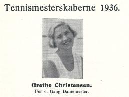 Grethe Christensen i Dragør Boldklubs klubblad fra 1936.