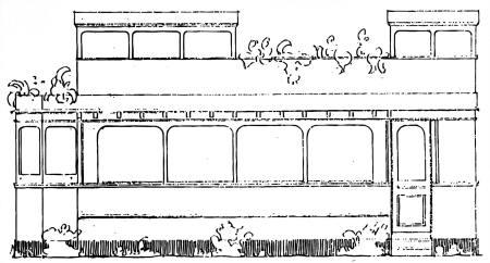 Tegning fra 1934 med skitse af sporvognen, som Uhrenholdt ønskede at opsætte op ad det oprindelige, lille træhus.