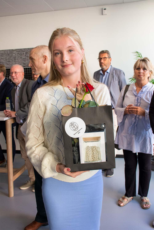 Nikoline Laugesen var den første sportsudøver, der blev hædret. Foto: Hans Jacob Sørensen.