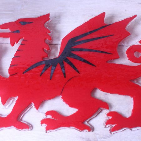 Red Dragon in opaque fused glass