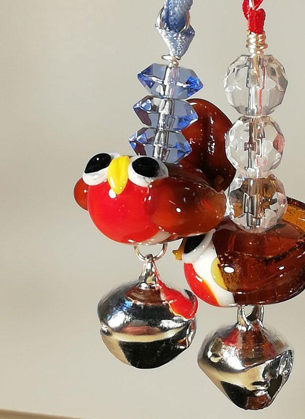 Lampwork glass robin
