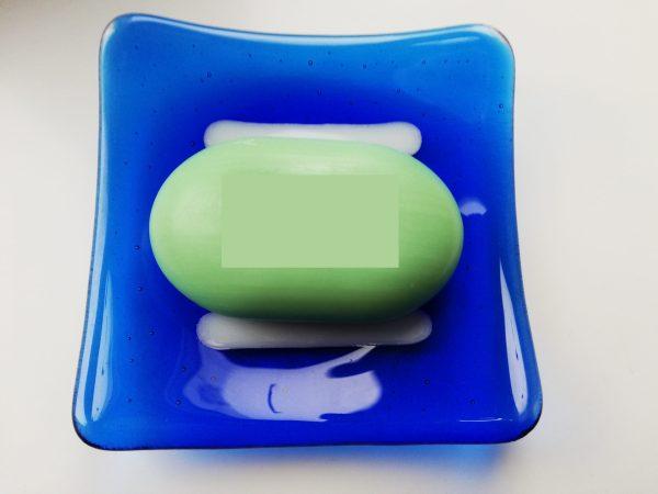 Trinket dish blue stripes