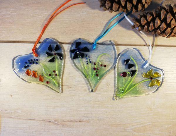 Various floral heart suncatchers - example picture